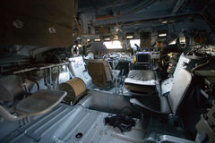 Military vehicle, inside view. Armored military vehicle, inside view stock photography