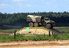 Military vehicle on the military camp Royalty Free Stock Photo