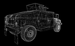 Military Vehicle. With  tower and  machine gun ,body structure, wire model Royalty Free Stock Photo
