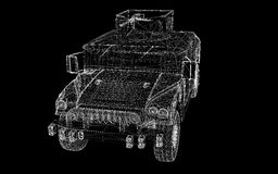 Military Vehicle. With  tower and  machine gun ,body structure, wire model Stock Images