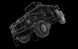 Military Vehicle. With  tower and  machine gun ,body structure, wire model Stock Image