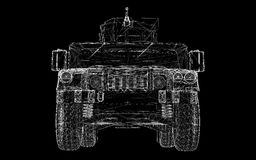 Military Vehicle. With  tower and  machine gun ,body structure, wire model Stock Photo