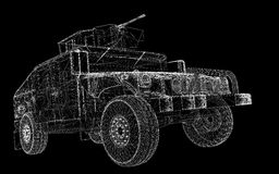 Military Vehicle. With  tower and  machine gun ,body structure, wire model Stock Photos