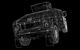 Military Vehicle. With  tower and  machine gun ,body structure, wire model Royalty Free Stock Image