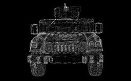 Military Vehicle. With  tower and  machine gun ,body structure, wire model Royalty Free Stock Photography