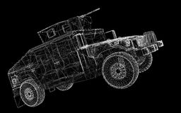 Military Vehicle. With  tower and  machine gun ,body structure, wire model Royalty Free Stock Photos