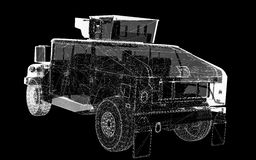 Military Vehicle. With  tower and  machine gun ,body structure, wire model Royalty Free Stock Images