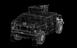 Military Vehicle. With  tower and  machine gun ,body structure, wire model Stock Photography