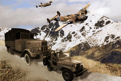 Military vehicles. Scene representing several vehicles from the second World war. A jeep, a truck, and two planes, Albermale in this case Royalty Free Stock Photo