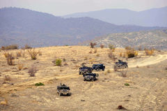 Military vehicles in action Stock Images