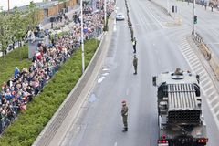Military vehicles on army parade on May 3, 2019 in Warsaw, Poland royalty free stock photos