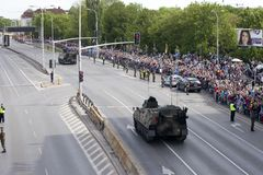 Military vehicles on army parade on May 3, 2019 in Warsaw, Poland royalty free stock image