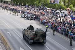 Military vehicles on army parade on May 3, 2019 in Warsaw, Poland stock image