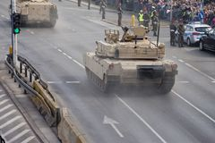 Military vehicles on army parade on May 3, 2019 in Warsaw, Poland royalty free stock images