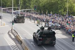 Military vehicles on army parade on May 3, 2019 in Warsaw, Poland royalty free stock photography