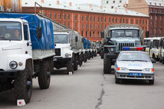 Military vehicles befor victory parade Stock Photos