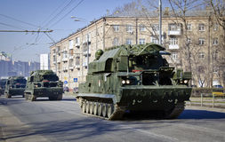 Military vehicles crossing Moscow Royalty Free Stock Images