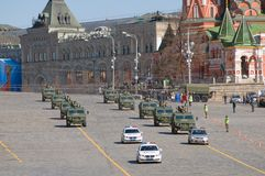 Military vehicles escorted by police Royalty Free Stock Images