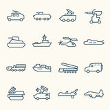 Military vehicles icons. Military vehicles line icon set Stock Image