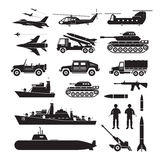 Military Vehicles Object Silhouette Set, Side View Royalty Free Stock Photos