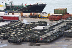 Military Vehicles at Port Stock Photo