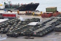 Military Vehicles at Port Stock Photo