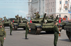 Military vehicles on rehearsal of Military Parade Royalty Free Stock Photography