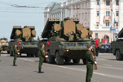 Military vehicles on rehearsal of Military Parade Stock Image