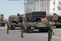 Military vehicles on rehearsal of Military Parade Royalty Free Stock Image