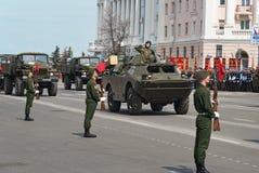 Military vehicles on rehearsal of Military Parade. NIZHNY NOVGOROD, RUSSIA - MAY 4, 2015: Military vehicles on rehearsal of Military Parade commemorating the Stock Photos