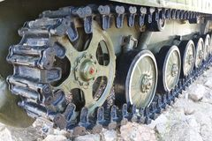 Military vehicles running gear on tracks Stock Image