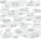Military vehicles, seamless, white background. Vector seamless background with military equipment on a white field with gray spots. Gray, linear icons. Colored Royalty Free Stock Photo
