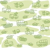 Military vehicles, seamless, white-green background. Vector seamless background with military equipment on a white field with green spots. Green, linear icons Royalty Free Stock Images
