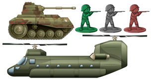Military vehicles and soldier toys. Illustration Stock Photography