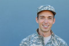 Military Veteran Isolated on Blue Background.  stock photography
