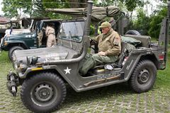 Military veterans and World War II US Army Jeeps Royalty Free Stock Photos