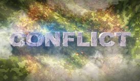 Military war background camouflage fabric texture with text conflict stock photography