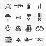 Military and war icons. Illustration of isolated military and war icons Stock Photos