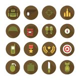 Military and war icons set. Army infographic design elements. Illustration in flat style. Royalty Free Stock Image