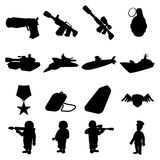 Military and war silhouettes icons set Royalty Free Stock Photos