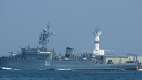 Military warship in the sea
