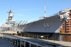 Wisconsin Military Warship in Museum Norfolk, Virginia. This is the warship Wisconsin on permanent display as part of the Nautilus Museum in downtown Norfolk Royalty Free Stock Photos