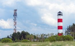 Military watch tower and lighthouse. Royalty Free Stock Images