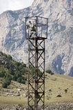 Military watch tower in mountains near Khardankan Royalty Free Stock Images