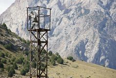 Military watch tower in mountains near Khardankan Royalty Free Stock Photography