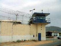 Military watchtower and border fence in Israel. Royalty Free Stock Photo