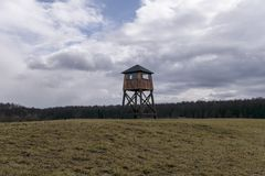 Military watchtower in a concentration camp stock photos