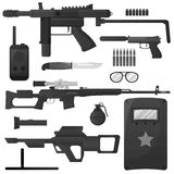 Military weapon, army special forces arms ammunition vector icons Stock Photos