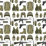 Military weapon guns armor forces american fighter ammunition camouflage seamless pattern background vector illustration royalty free illustration