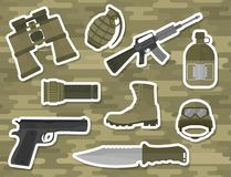 Military weapon guns armor forces american fighter ammunition camouflage sign vector illustration. Stock Photography